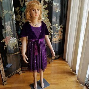 George Size 8 Solid Purple Velour Formal Dress